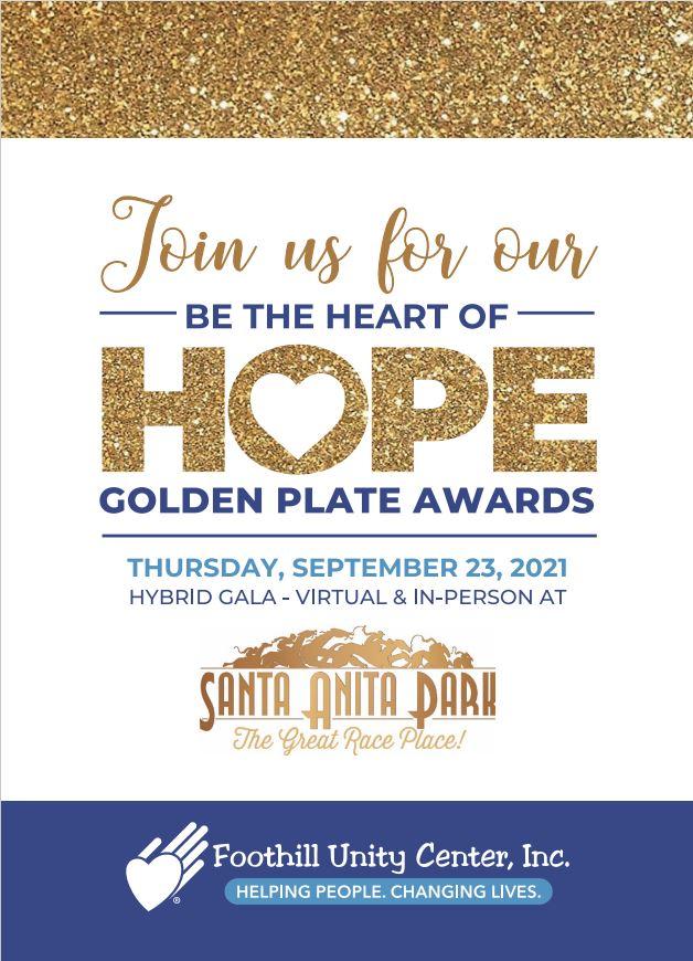 Foothill Unity Center Golden Plate Awards gala information