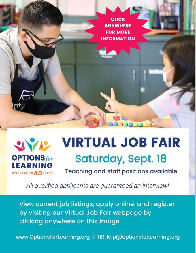 Options for Learning virtual job fair