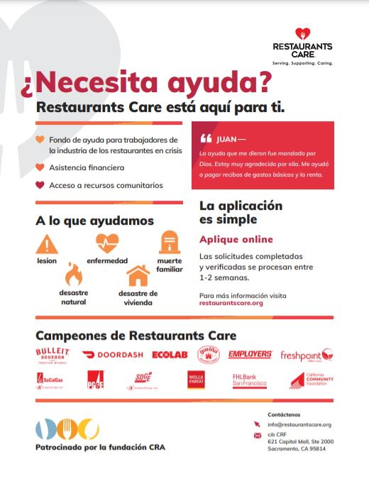 Restaurants Care program information in Spanish