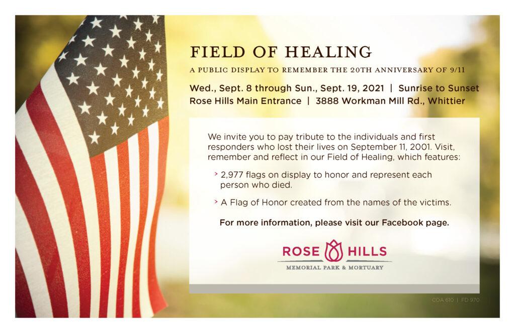 Rose Hills Field of Healing for September 11th