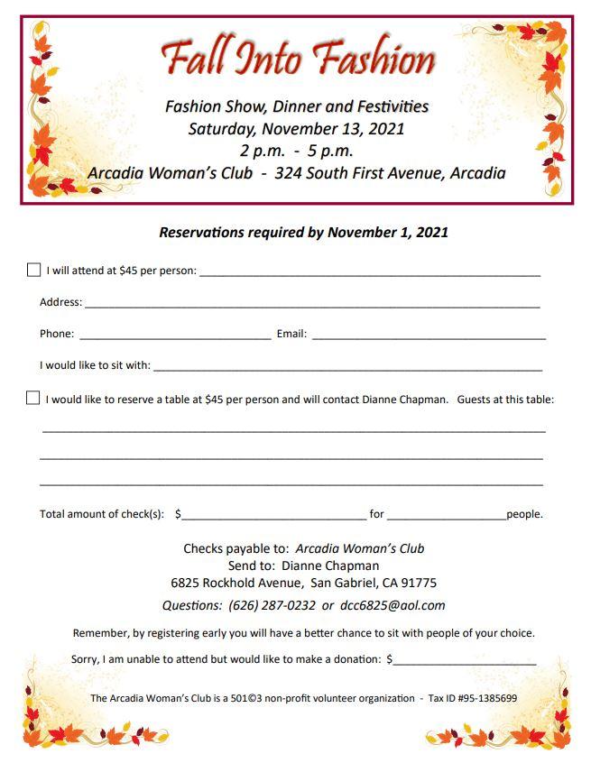 Arcadia Woman's Club Fall Fashion Show RSVP sheet