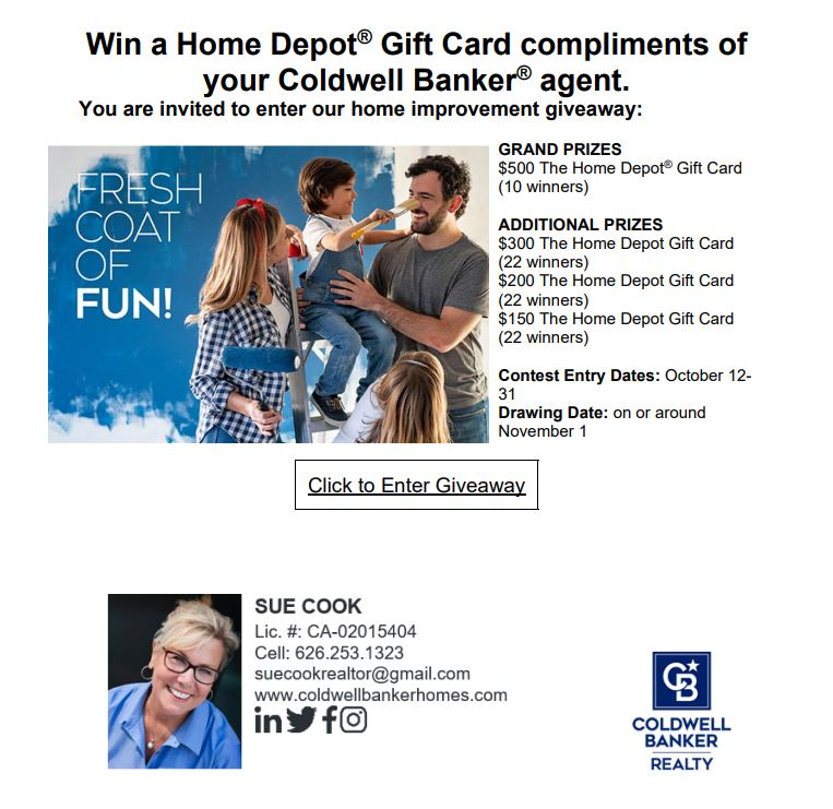 Coldwell Banker agents give away home depot gift cards